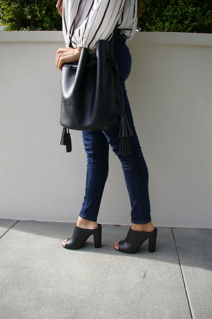 mules heels bucket bag