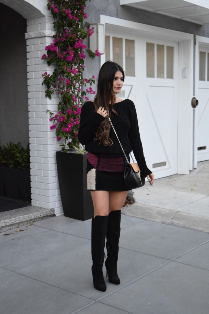 Suede Mini Skirt + OTK Boots