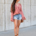 Bell Sleeve Top + Denim Cutoffs
