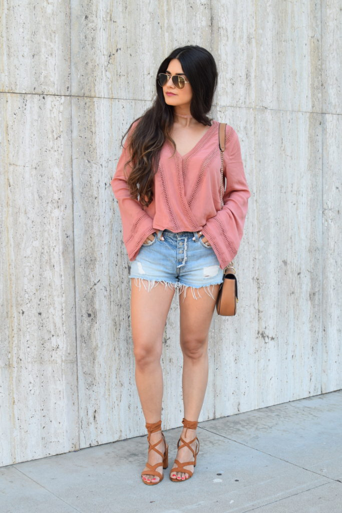 surplice-top-denim-cutoffs