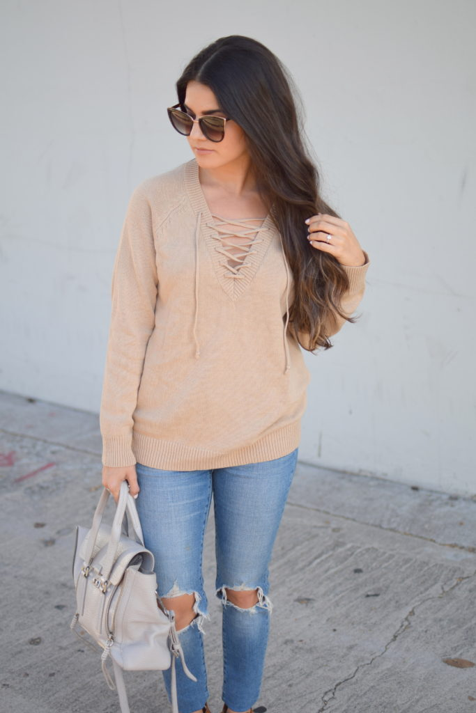 thanksgiving-outfit-lace-up-sweater