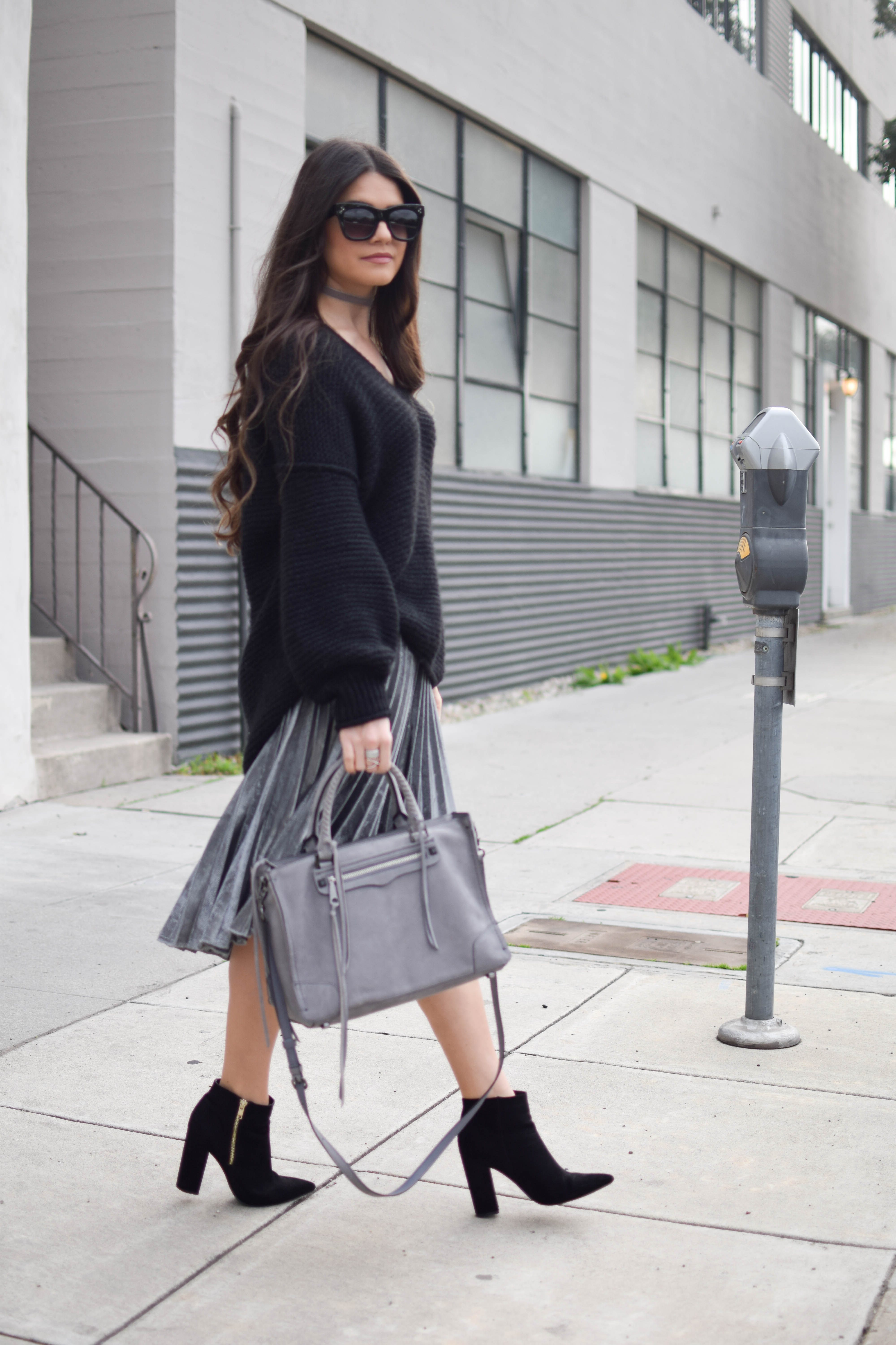 Metallic Skirt + Cozy Sweater